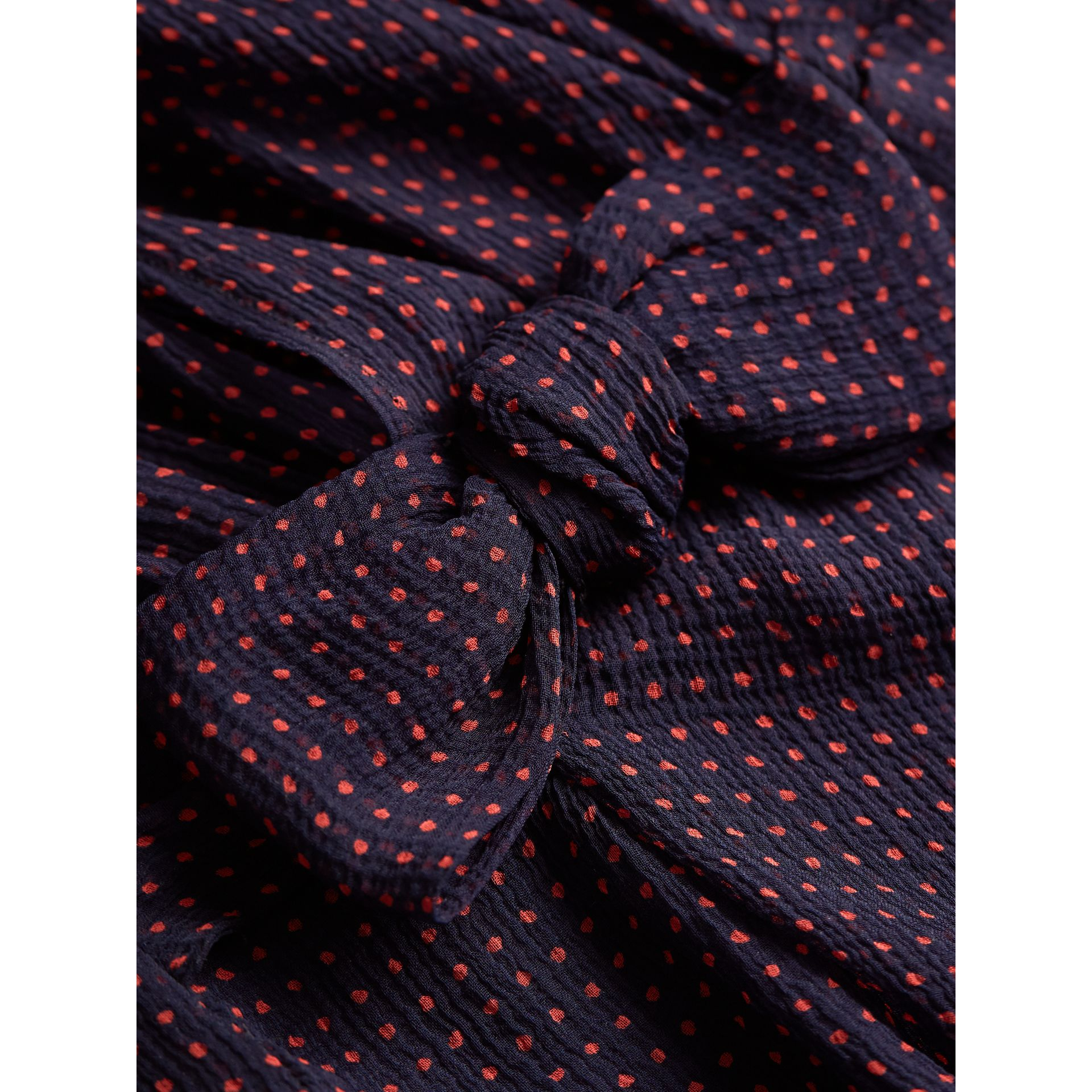 Bow Detail Polka-dot Silk Crepon Dress in Navy/parade Red - Girl | Burberry - gallery image 2