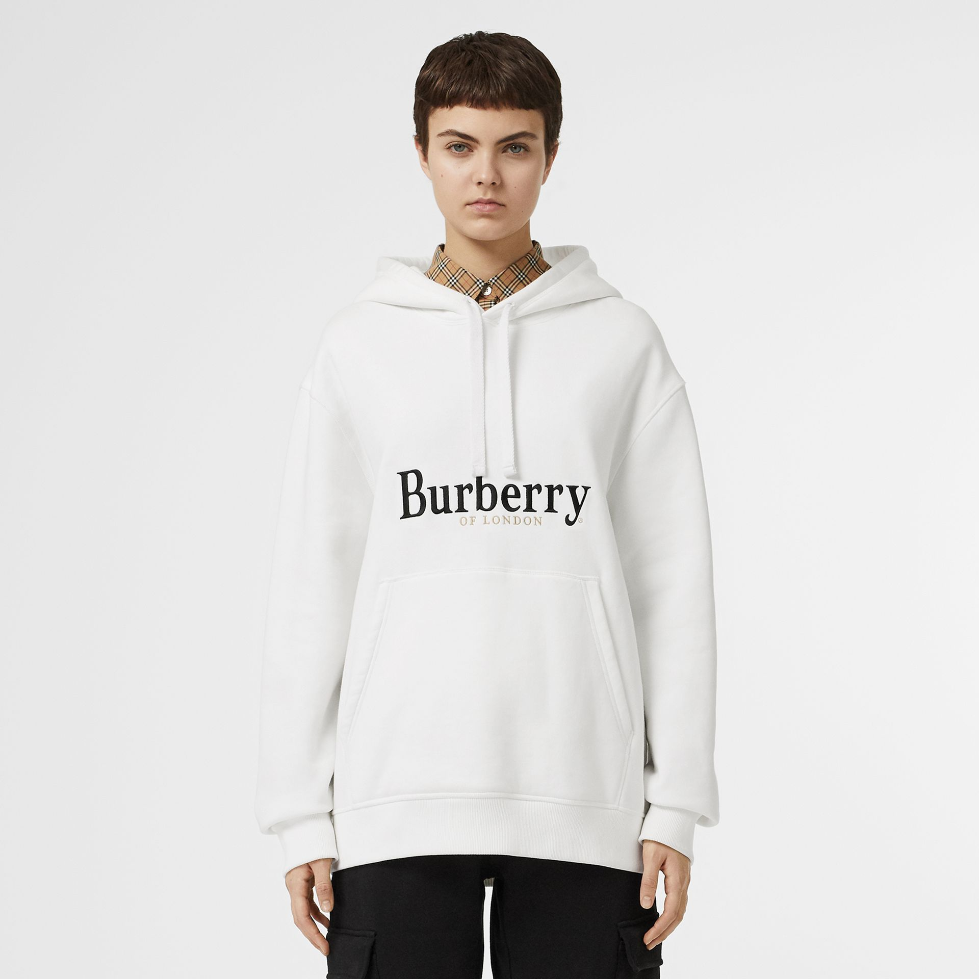 Embroidered Logo Jersey Hoodie in White - Women | Burberry United Kingdom - gallery image 5