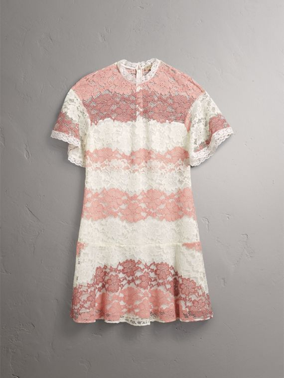 Floral Lace Dress with Flutter Sleeves in Dusty Pink - Women | Burberry - cell image 3