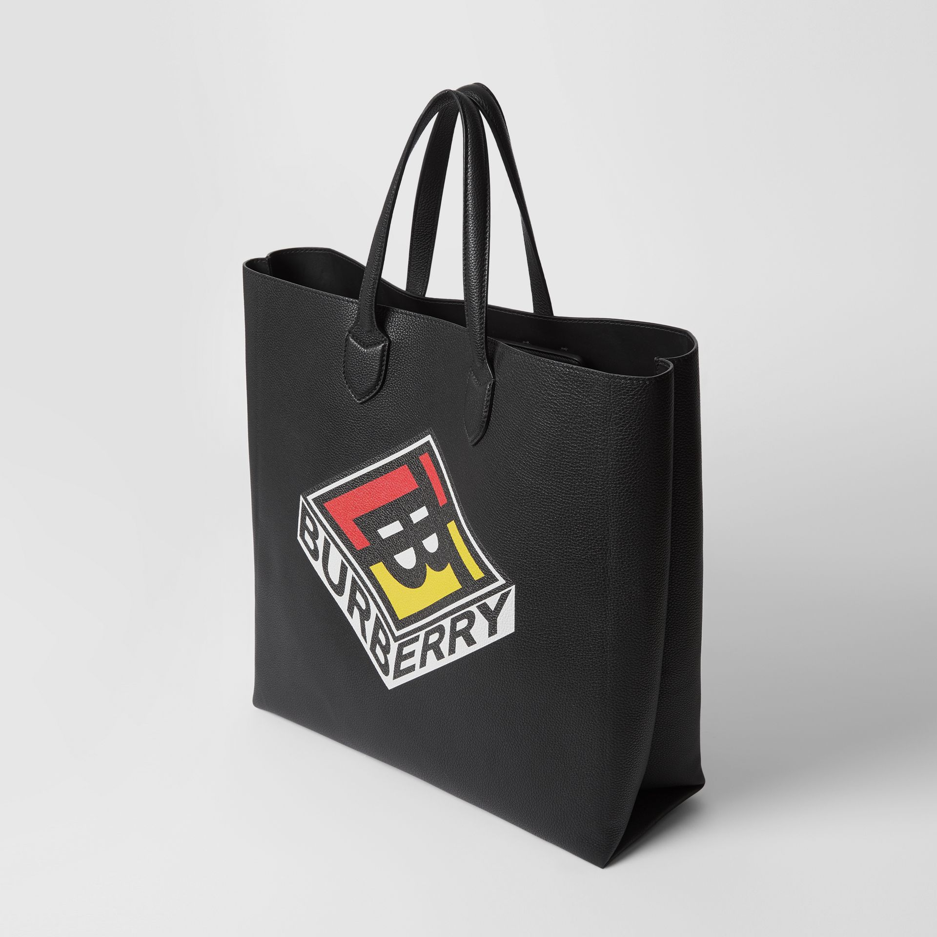 Large Logo Graphic Grainy Leather Tote in Black - Men | Burberry United States - gallery image 4