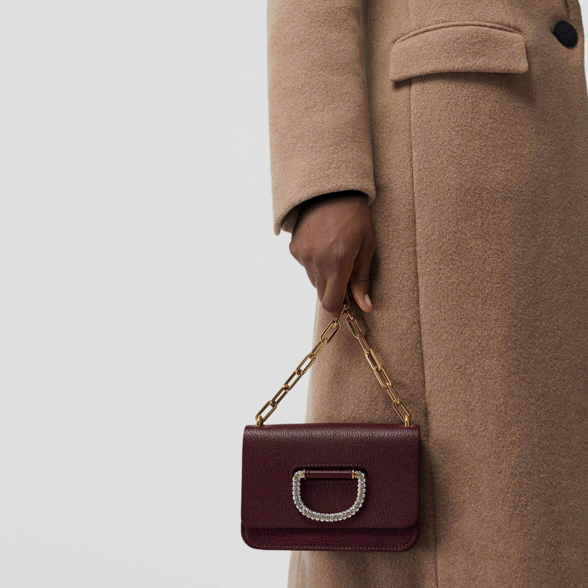 The Mini Leather Crystal D-ring Bag in Deep Claret - Women | Burberry - gallery image 3