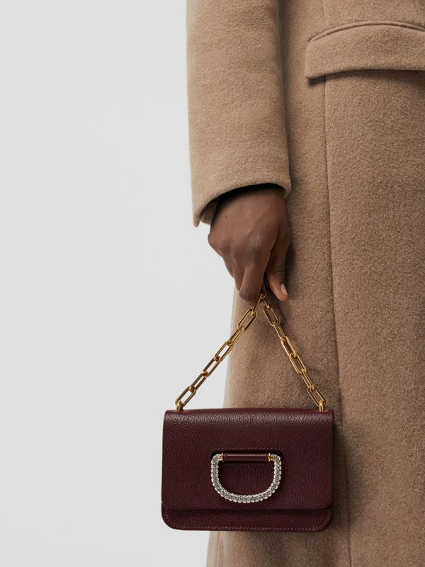 The Mini Leather Crystal D-ring Bag in Deep Claret - Women | Burberry - cell image 3