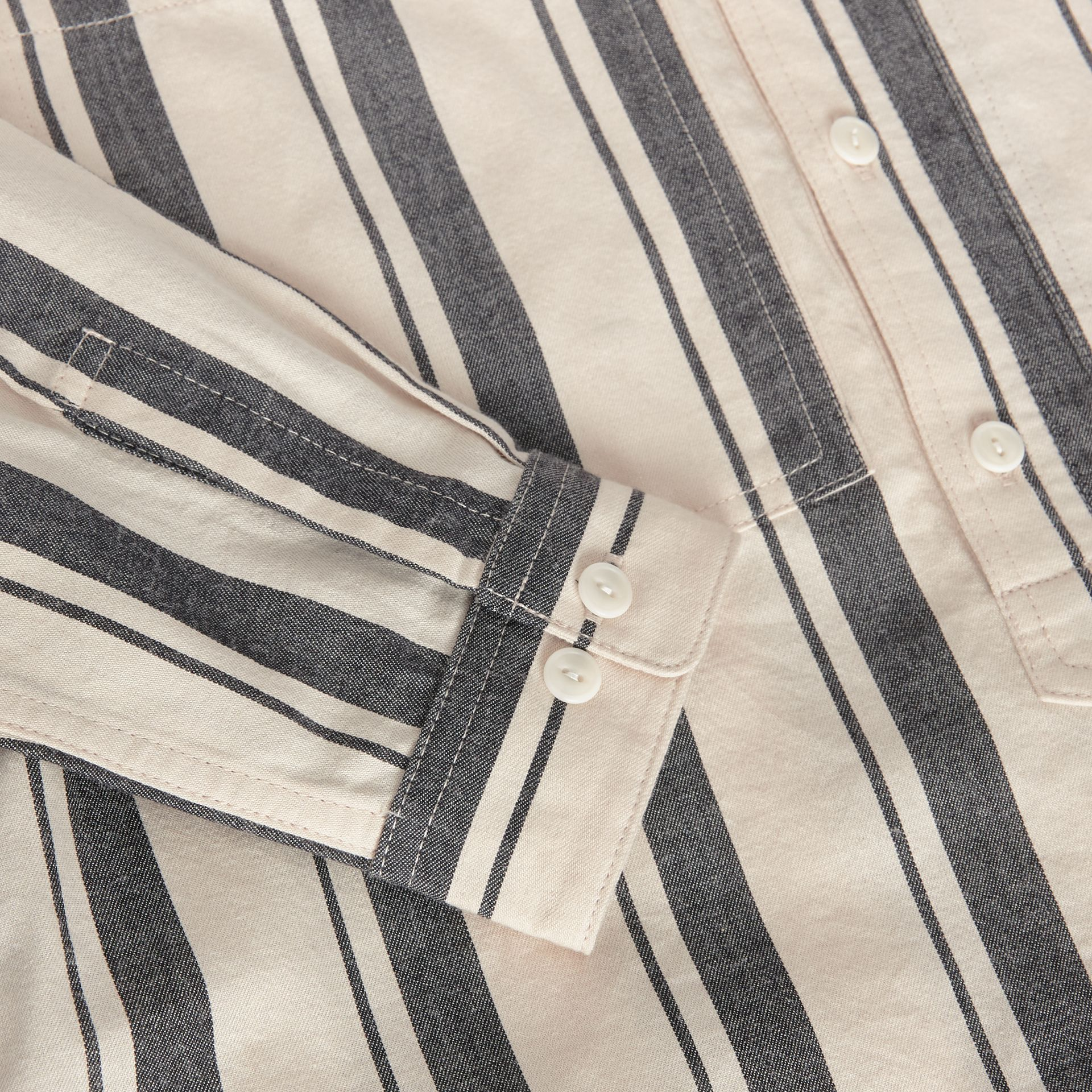 Striped Cotton Wool Shirt in Dark Grey | Burberry - gallery image 1
