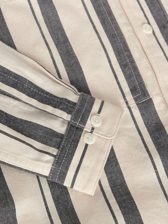 Striped Cotton Wool Shirt in Dark Grey | Burberry Canada - cell image 1