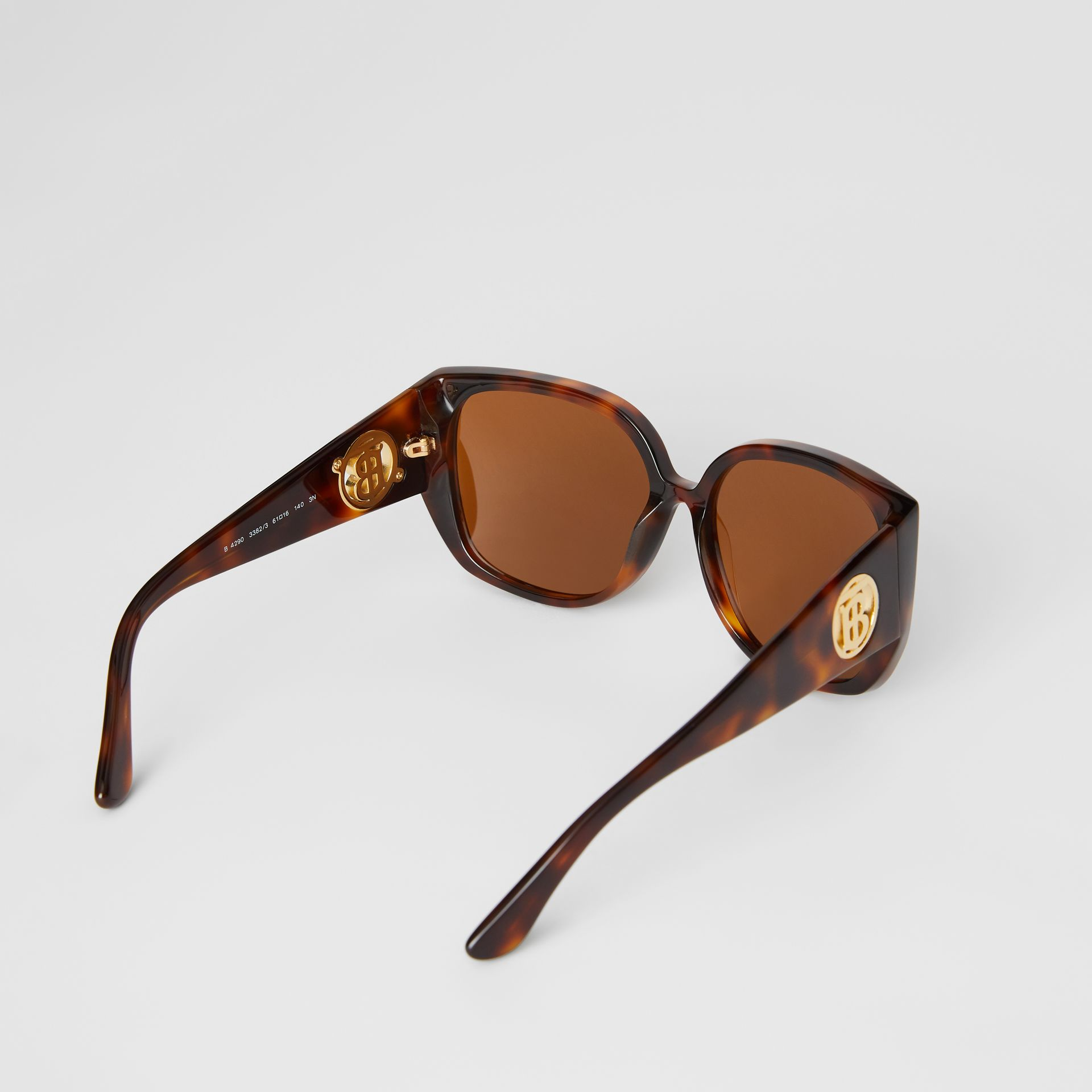 Monogram Detail Round Frame Sunglasses in Tortoise Shell - Women | Burberry Australia - gallery image 3