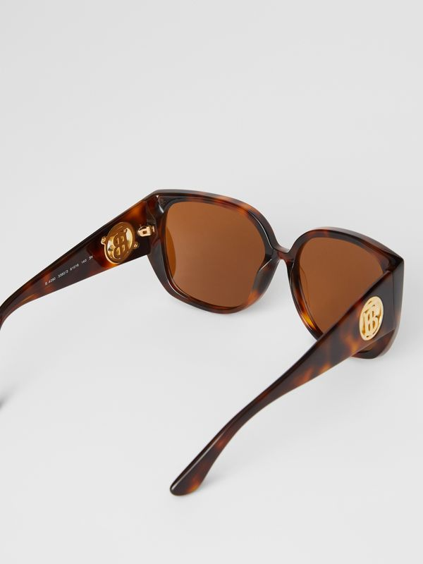 Monogram Detail Round Frame Sunglasses in Tortoise Shell - Women | Burberry Australia - cell image 3