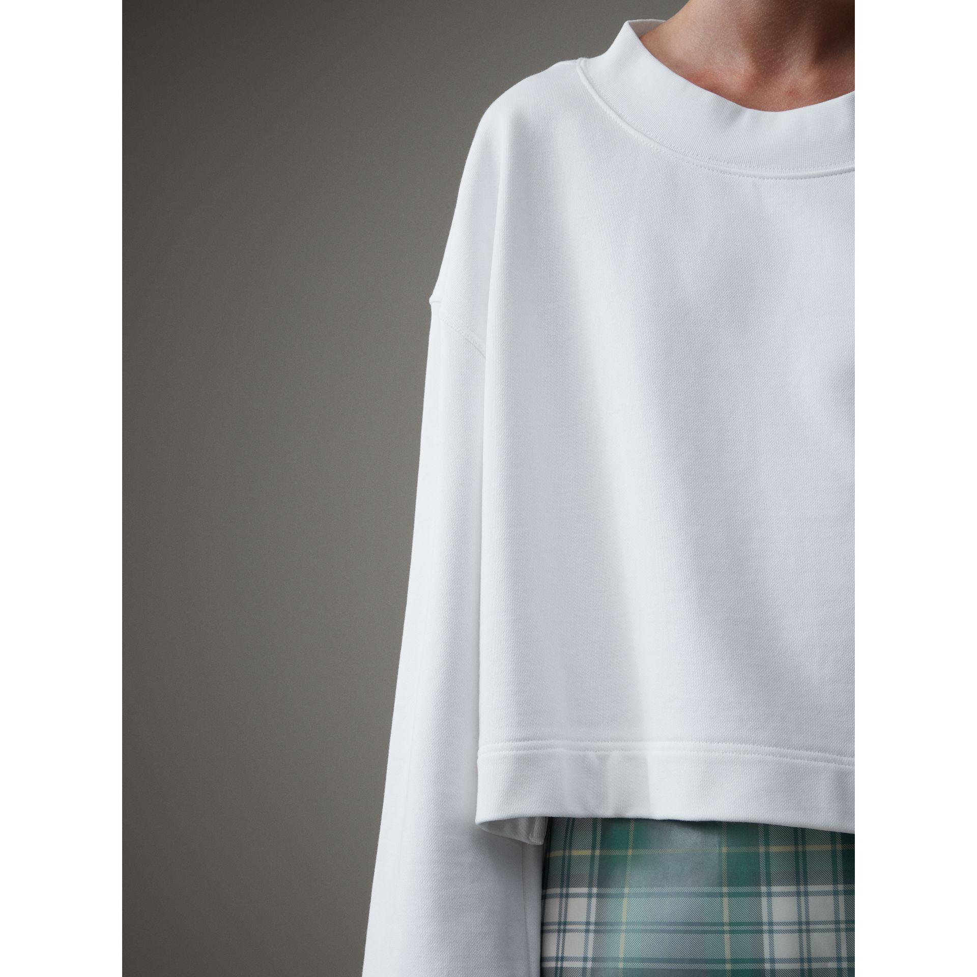 Cropped Sweatshirt with Crystal Brooch in Optic White - Women | Burberry - gallery image 1