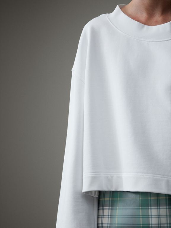 Cropped Sweatshirt with Crystal Brooch in Optic White - Women | Burberry United Kingdom - cell image 1