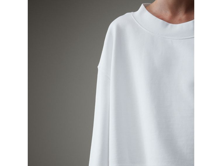Cropped Sweatshirt with Crystal Brooch in Optic White - Women | Burberry Hong Kong - cell image 1