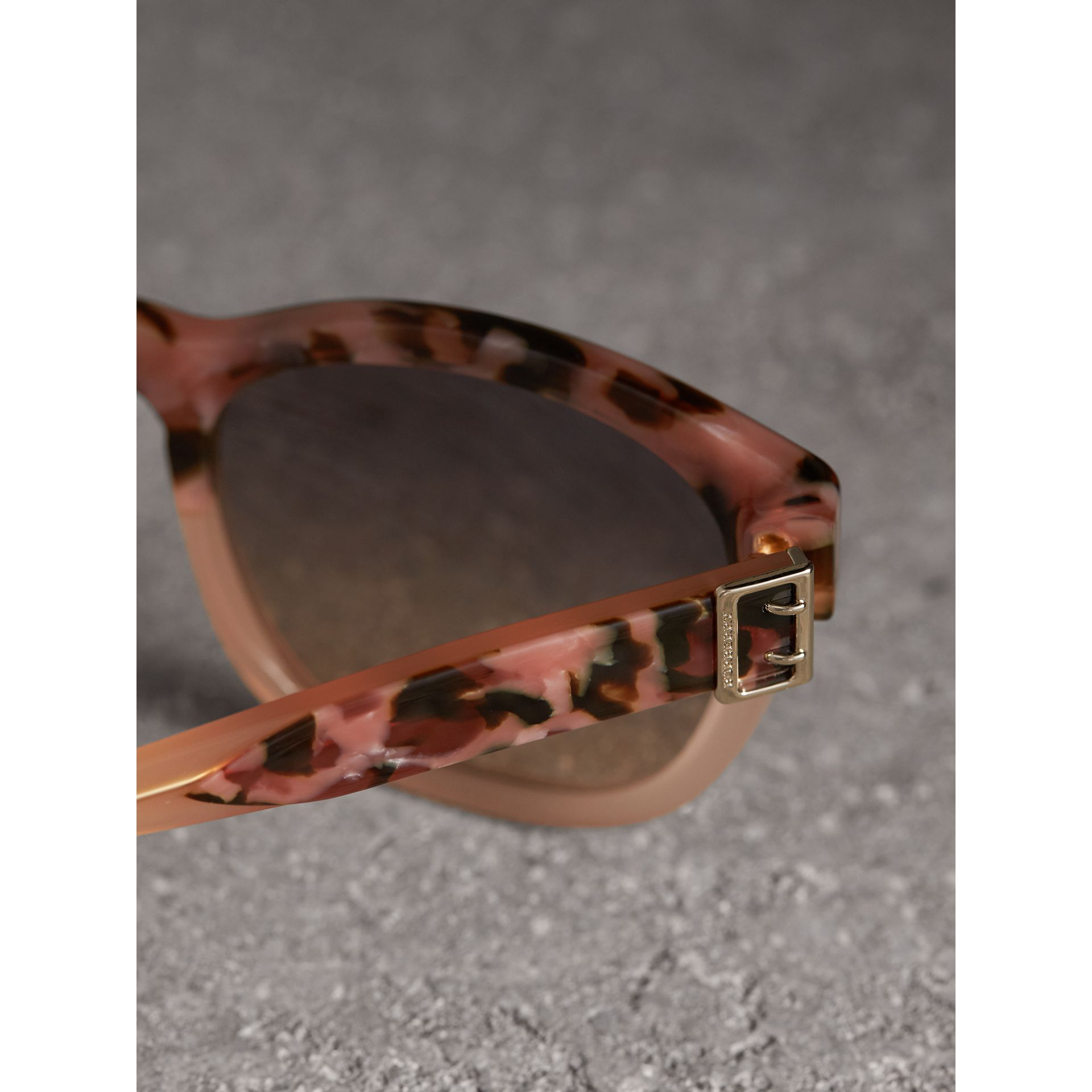 Buckle Detail Square Frame Sunglasses in Nude - Women | Burberry - gallery image 1