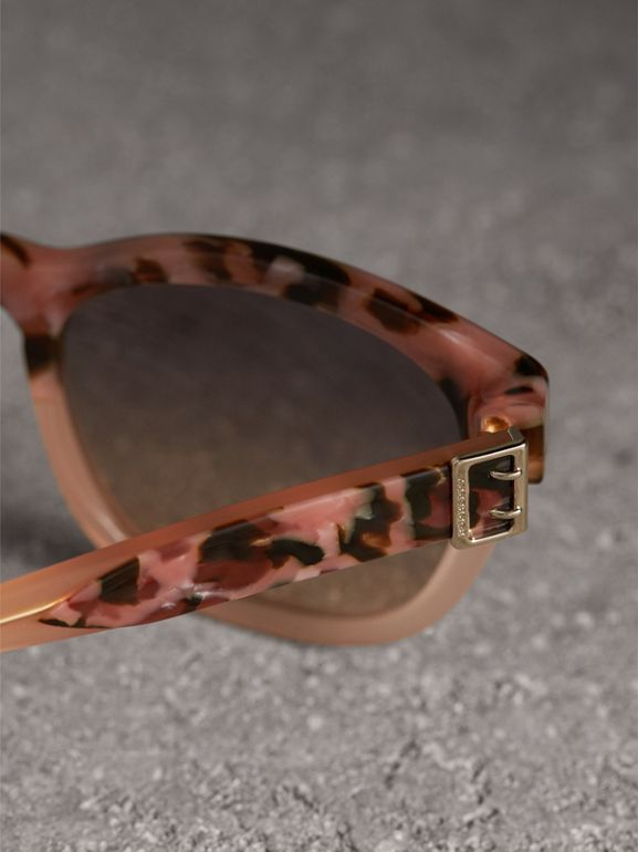 Buckle Detail Square Frame Sunglasses in Nude - Women | Burberry - cell image 1