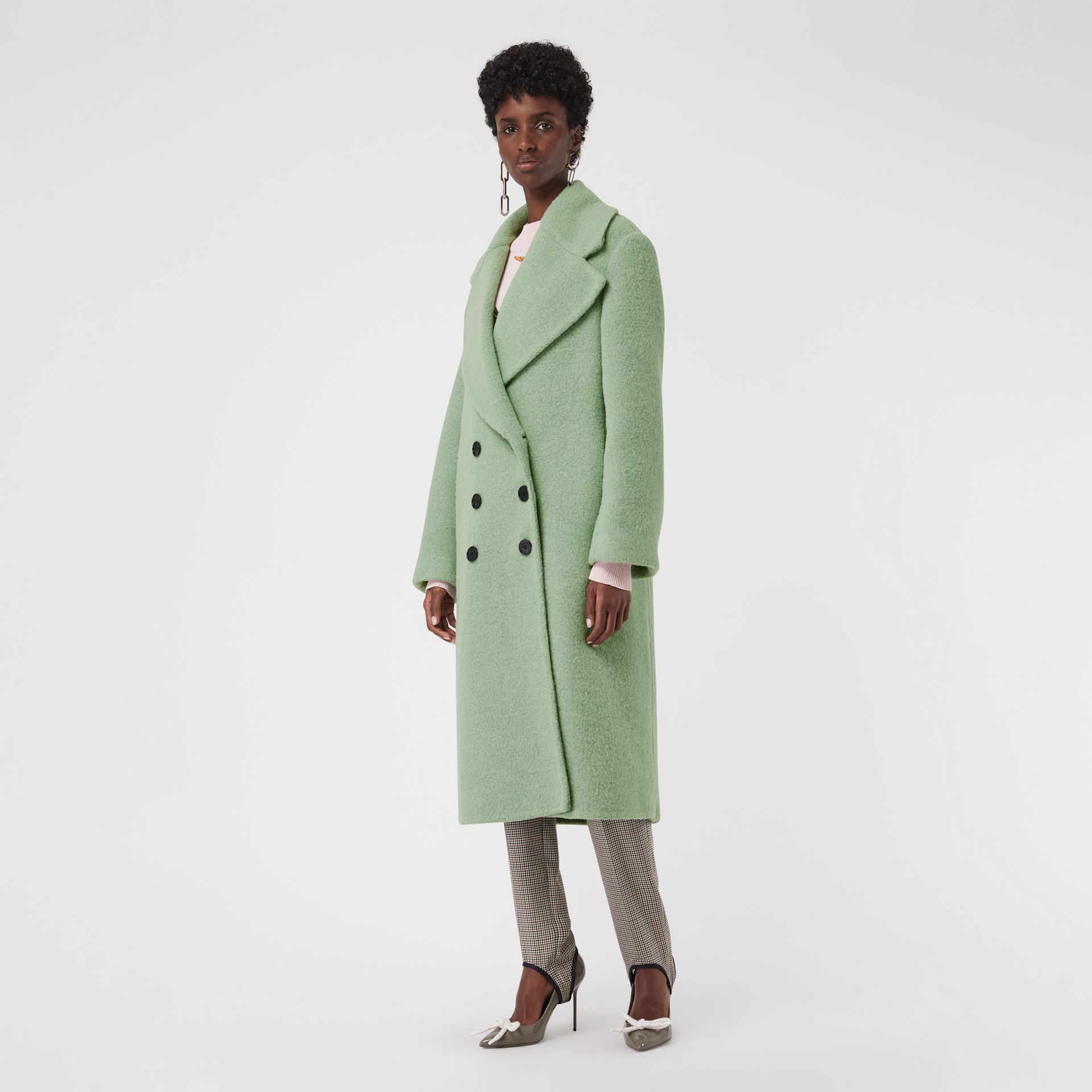 Double-faced Wool Alpaca Blend Oversized Coat in Celadon Green - Women | Burberry United Kingdom - gallery image 5