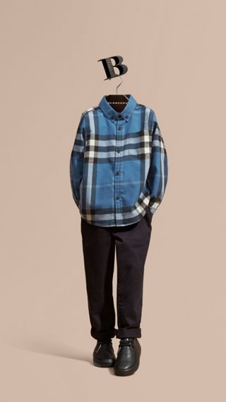Check Cotton Flannel Button-Down Shirt