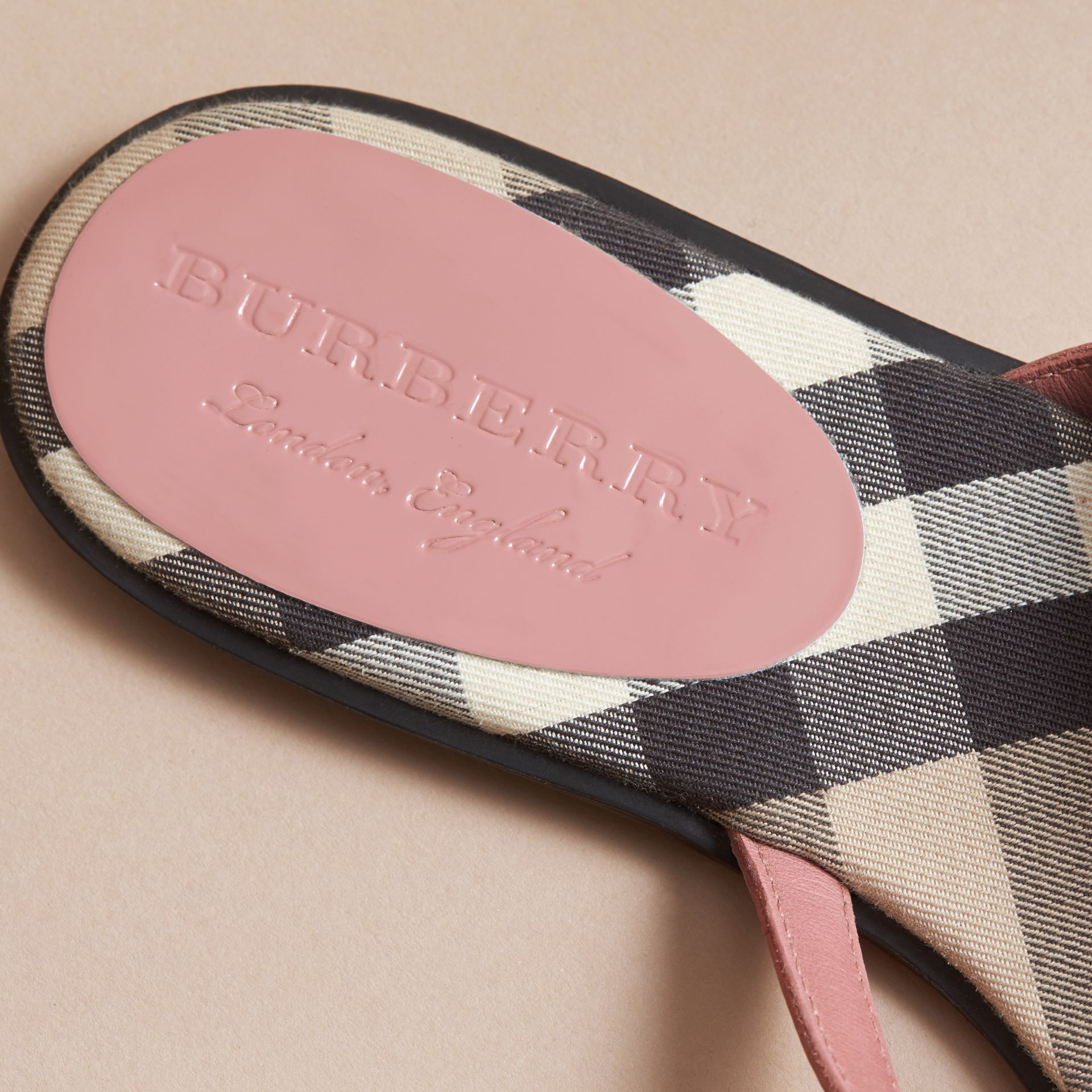 House Check and Patent Leather Sandals in Nude Pink - Women | Burberry - gallery image 5