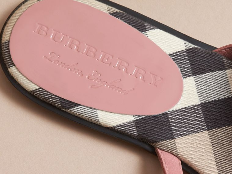 House Check and Patent Leather Sandals in Nude Pink - Women | Burberry - cell image 4