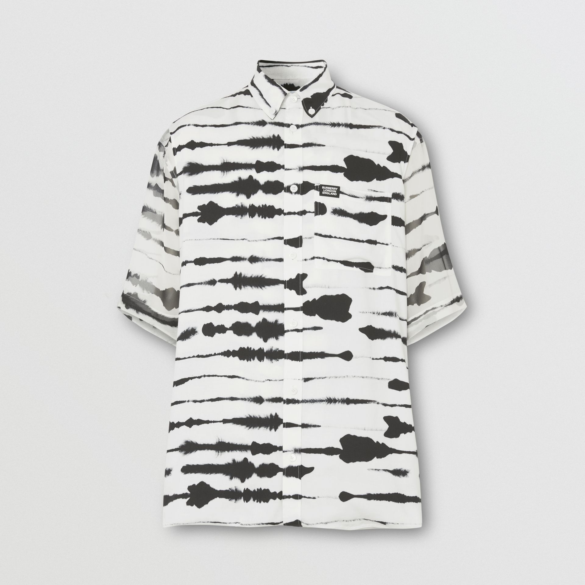 Short-sleeve Silk Overlay Watercolour Print Twill Shirt in Monochrome | Burberry United States - gallery image 8
