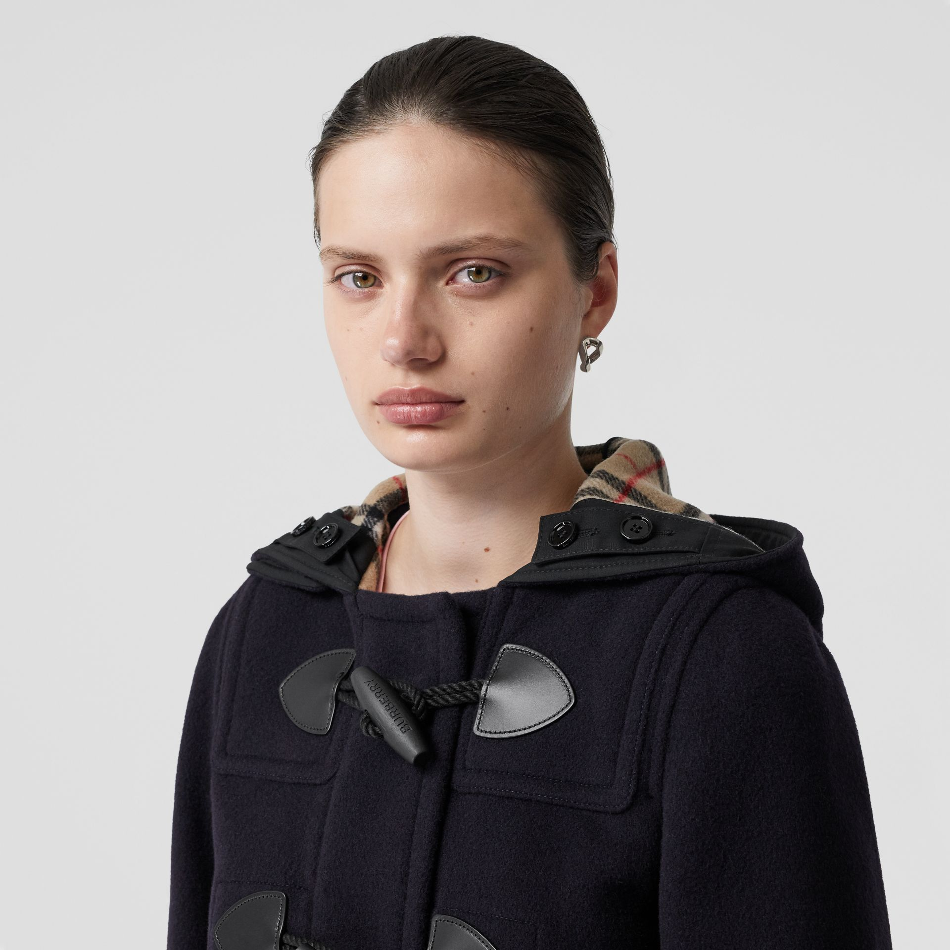 Wool Blend Duffle Coat in Navy - Women | Burberry - gallery image 1