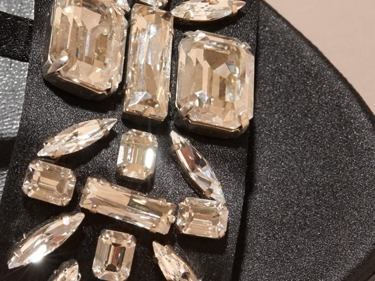Black Gem Embellished Leather Sandals - cell image 4