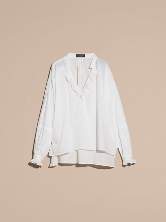 White Ruffle-trimmed Cotton Voile Tunic Shirt - cell image 2