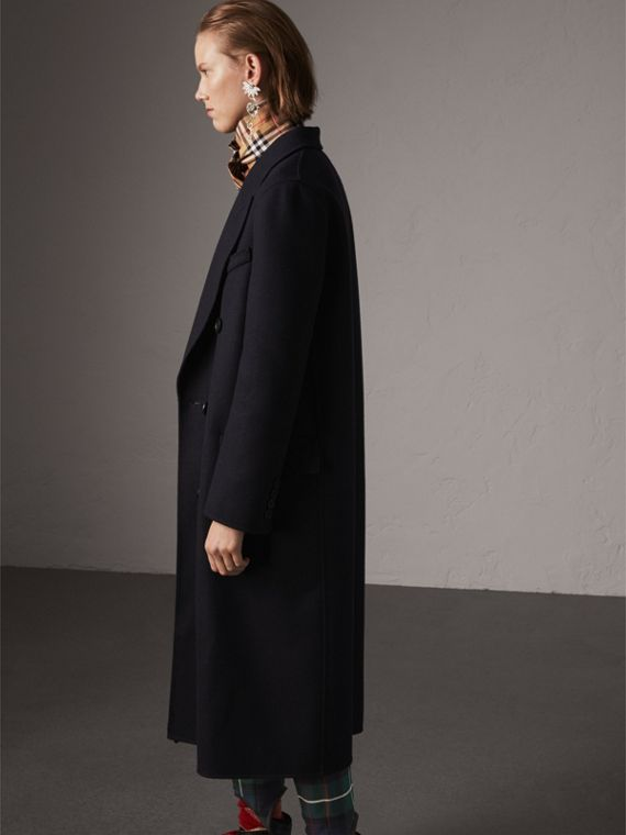 Felted Wool Double-breasted Coat in Navy