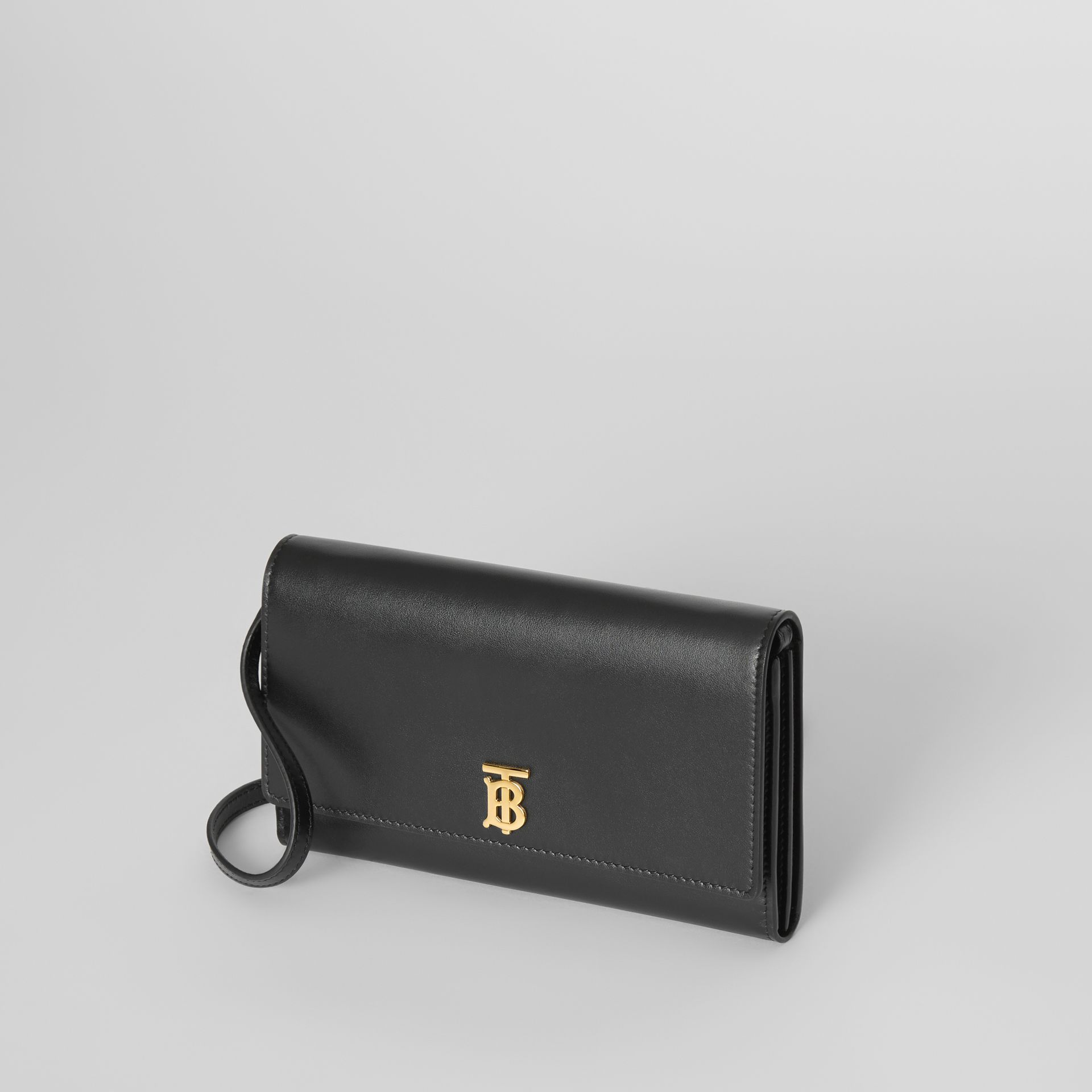 Monogram Motif Leather Wallet with Detachable Strap in Black - Women | Burberry - gallery image 3