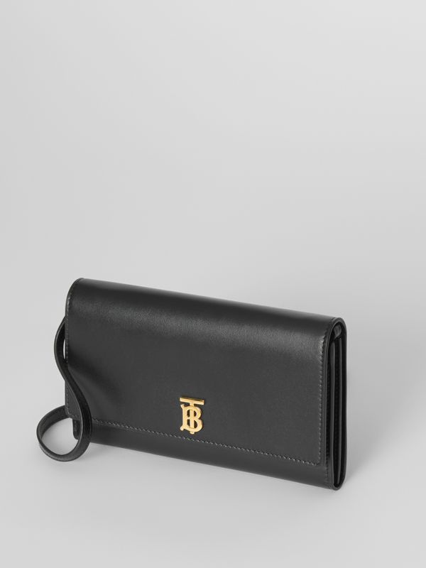 Monogram Motif Leather Wallet with Detachable Strap in Black - Women | Burberry - cell image 3