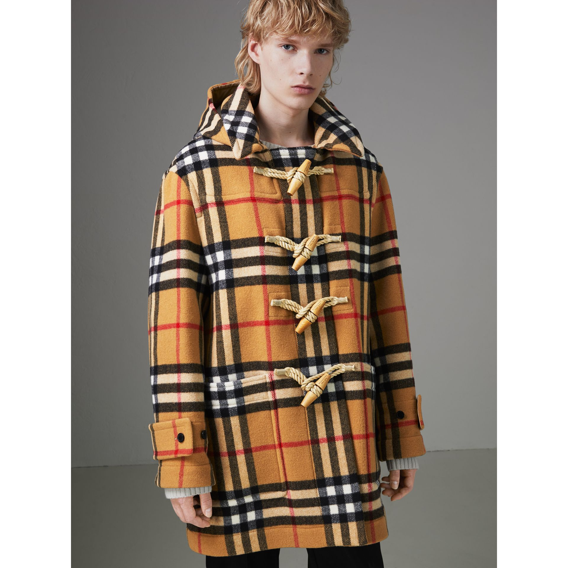 Gosha x Burberry Check Oversized Duffle Coat in Antique Yellow | Burberry - gallery image 6