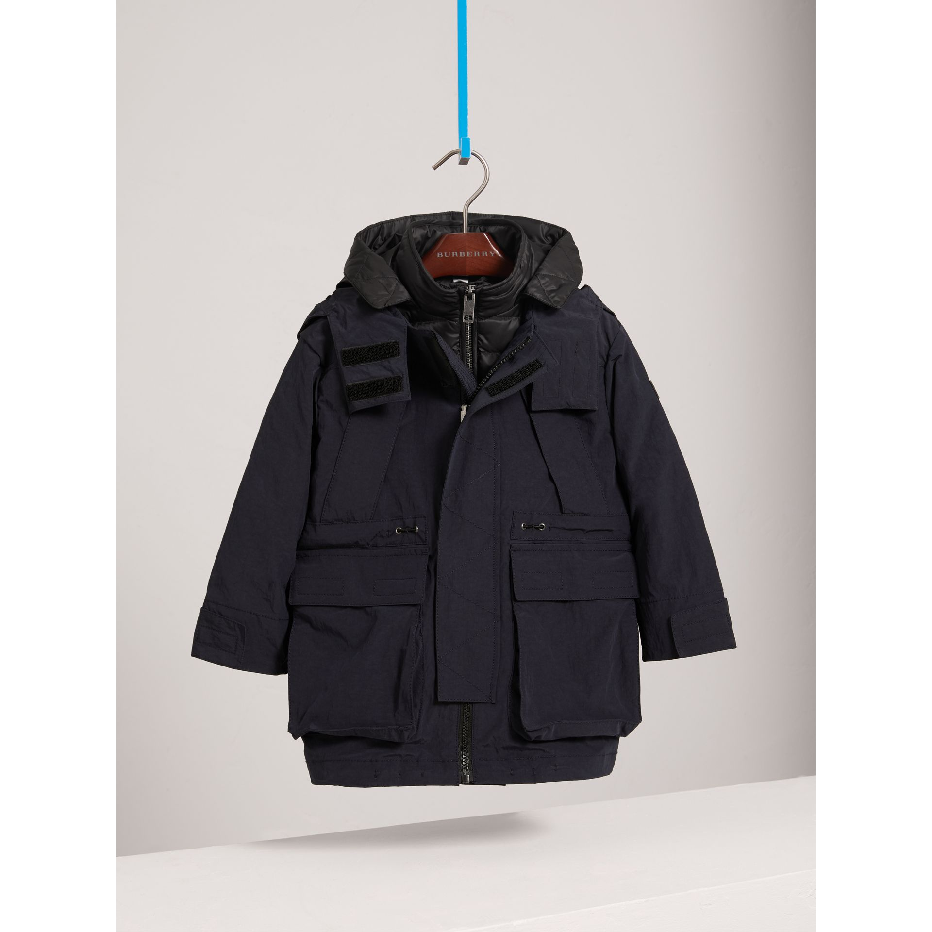 Parka with Detachable Down-filled Hooded Warmer in Navy - Boy | Burberry - gallery image 2