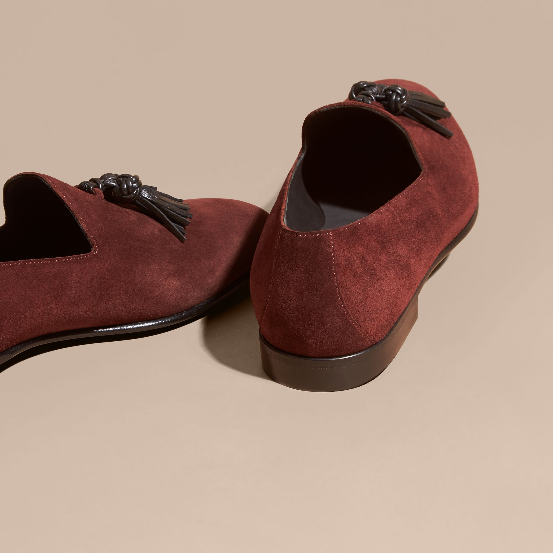 Deep aubergine Whole-cut Suede Tassel Loafers Deep Aubergine - gallery image 4