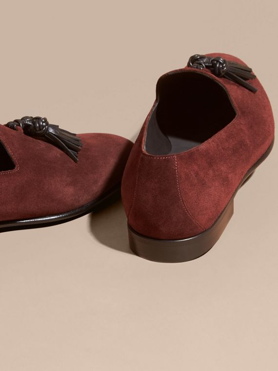 Deep aubergine Whole-cut Suede Tassel Loafers Deep Aubergine - cell image 3