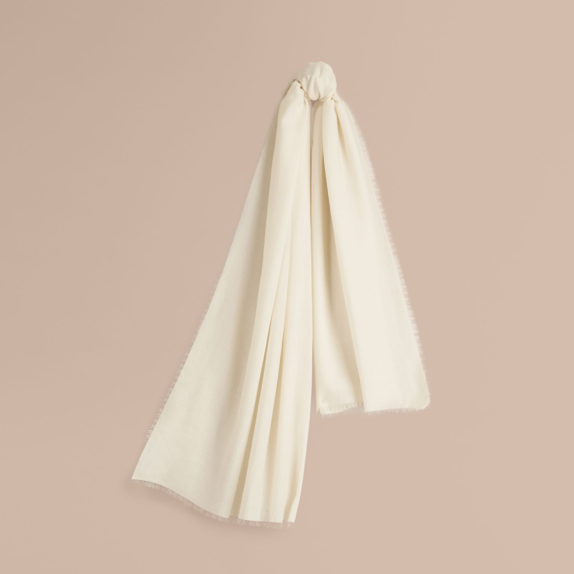 The Lightweight Cashmere Scarf in Natural White - gallery image 6