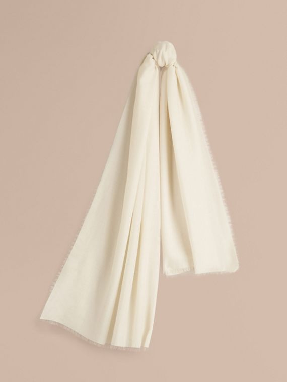 The Lightweight Cashmere Scarf in Natural White | Burberry