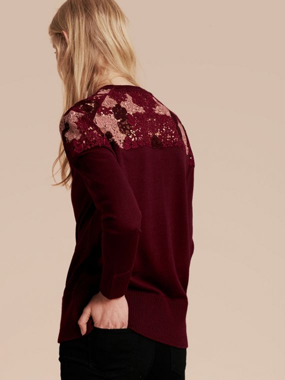 Deep claret Lace Yoke Merino Wool Cardigan Deep Claret - cell image 2