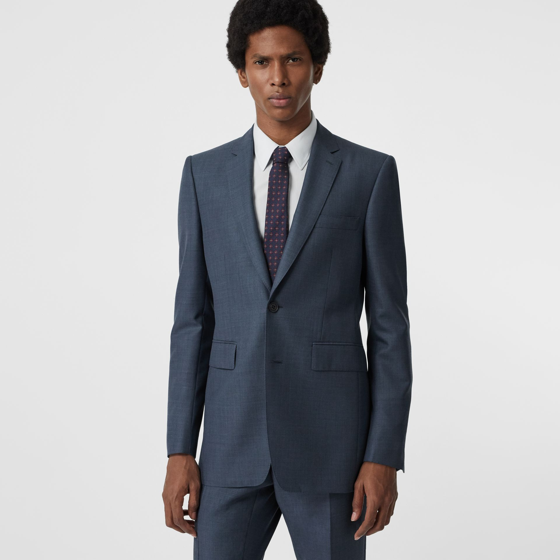 Classic Fit Wool Mohair Silk Suit in Steel Blue - Men | Burberry - gallery image 7