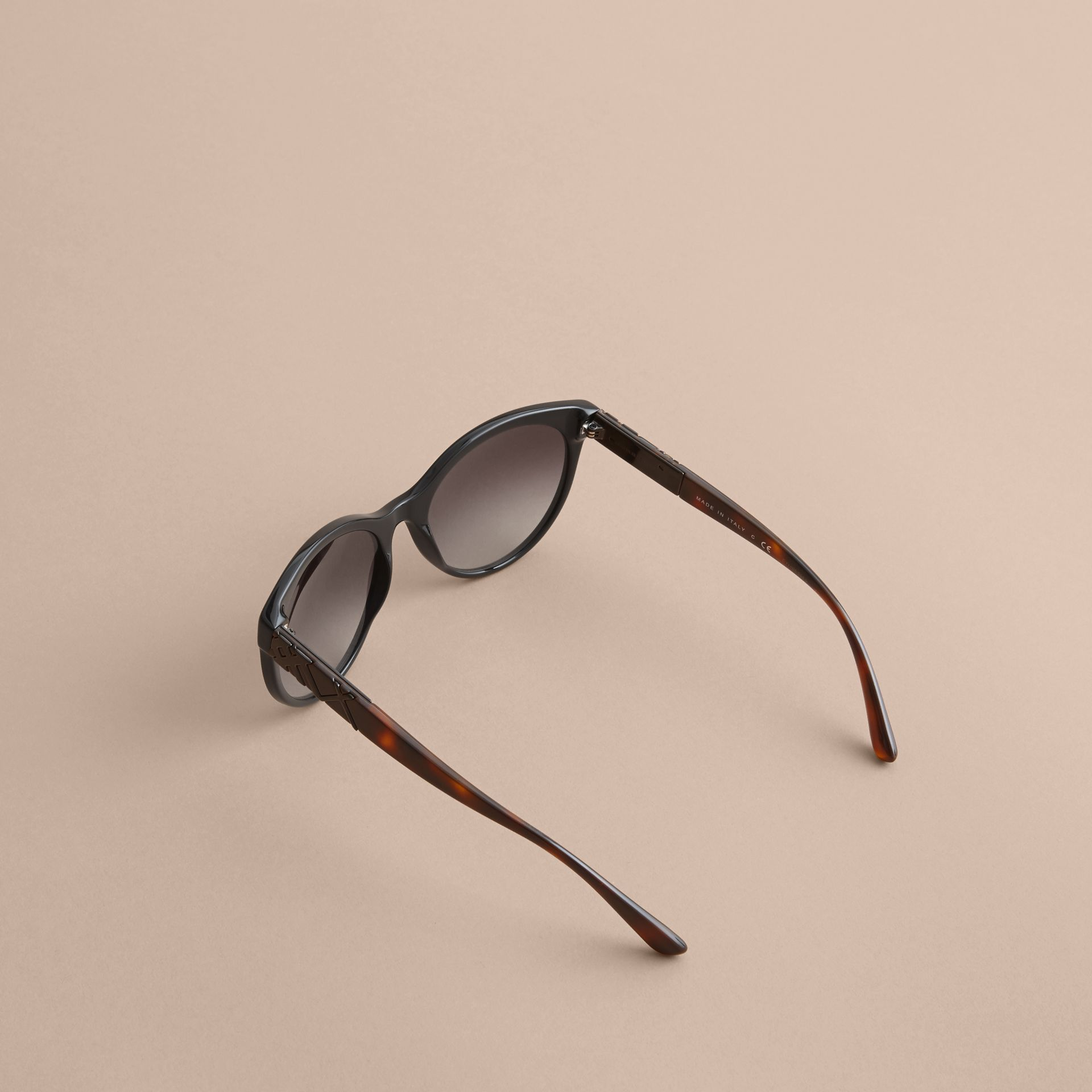 Check Detail Round Frame Sunglasses in Black - Women | Burberry Australia - gallery image 4