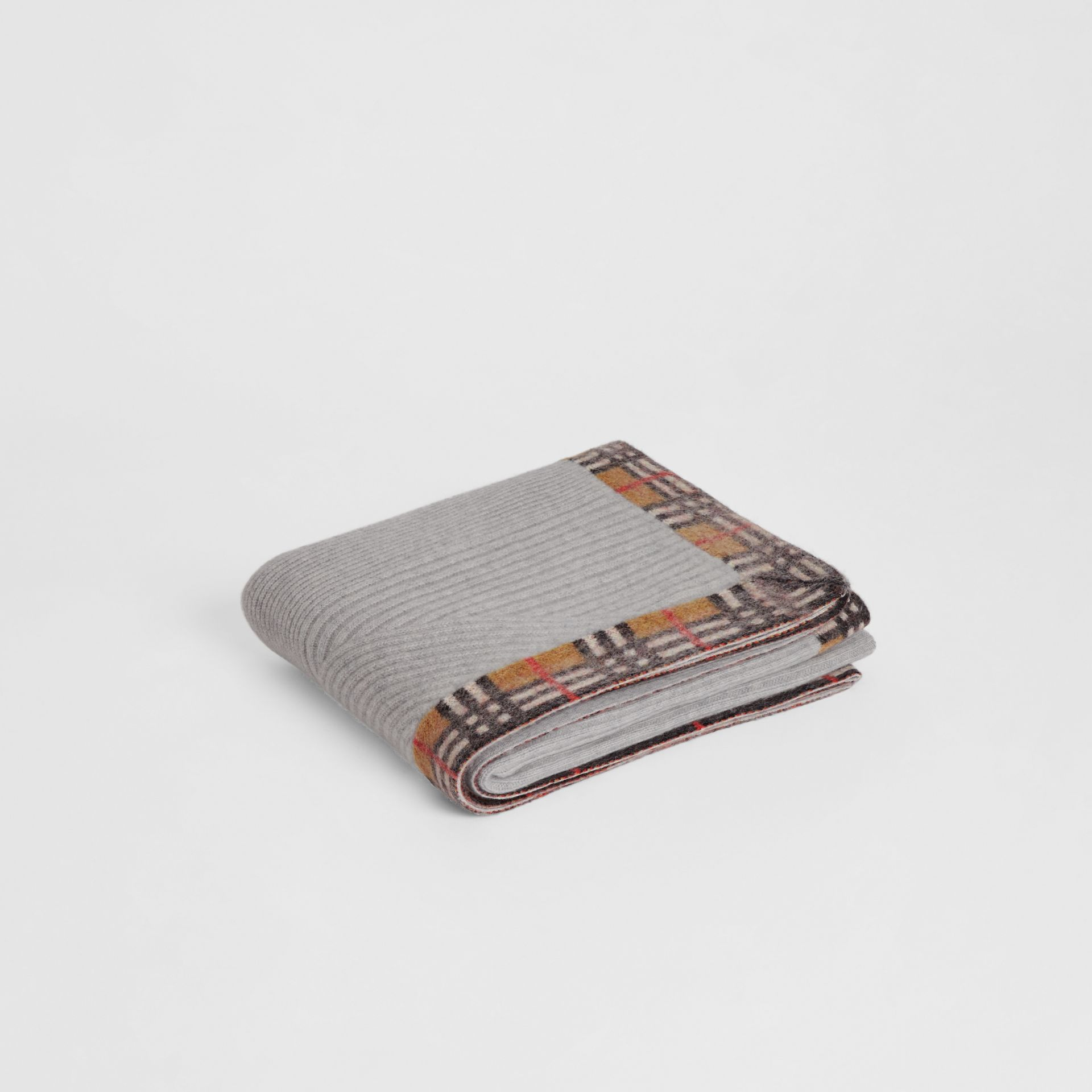 Vintage Check Detail Cashmere Baby Blanket in Light Grey Melange - Children | Burberry Australia - gallery image 0