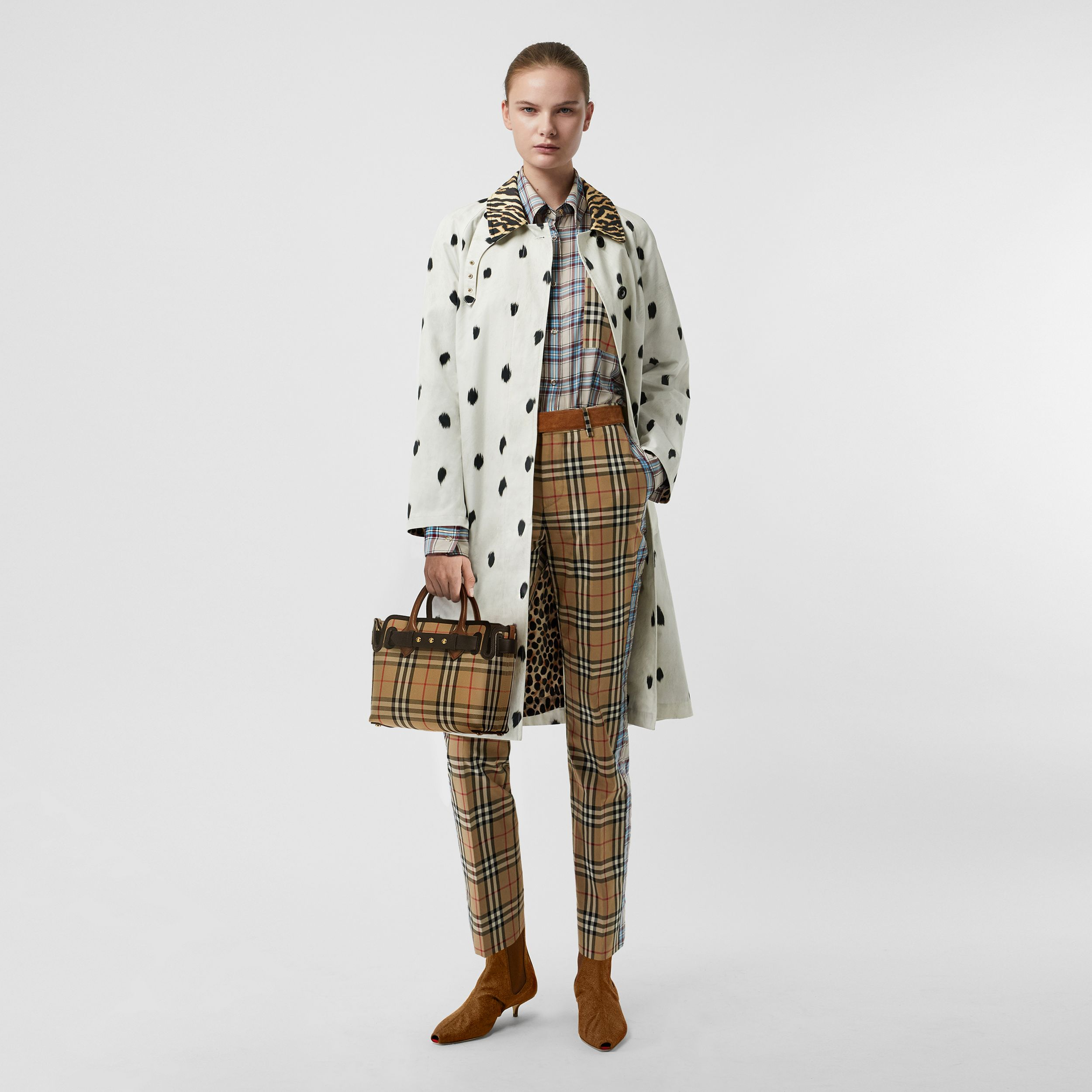 Animal Print Cotton Car Coat in White | Burberry - 1