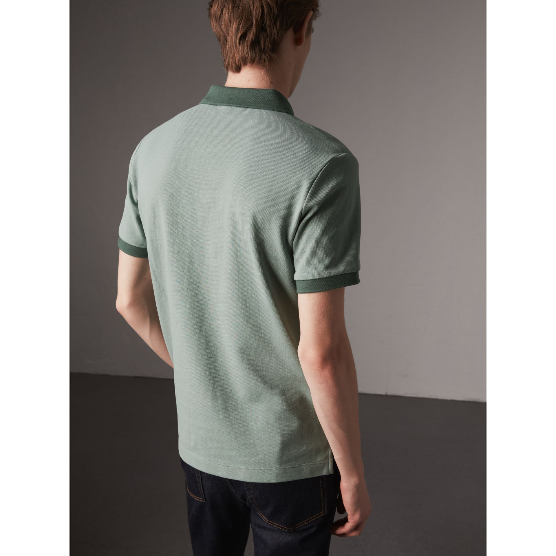 Cotton Piqué Polo Shirt in Eucalyptus Green - Men | Burberry - gallery image 2