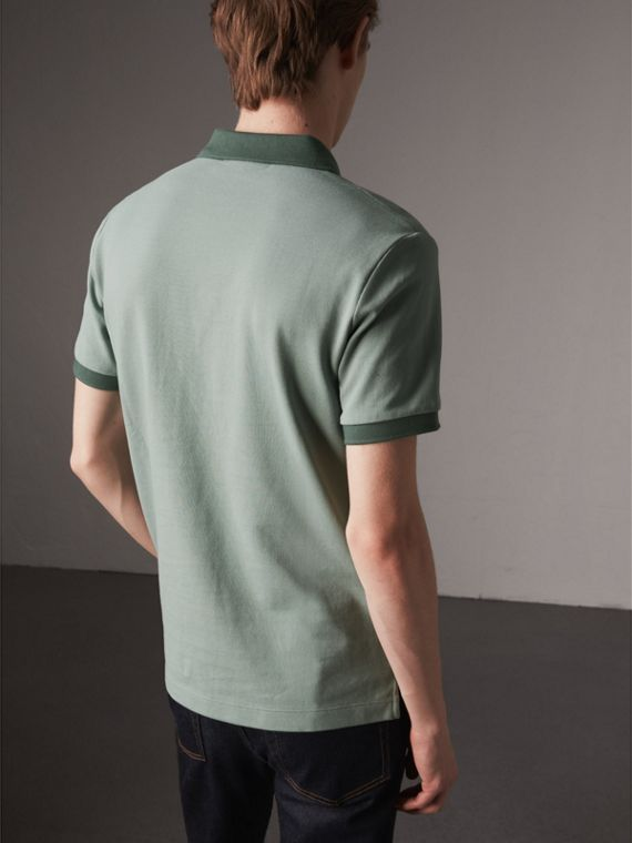 Cotton Piqué Polo Shirt in Eucalyptus Green - Men | Burberry - cell image 2