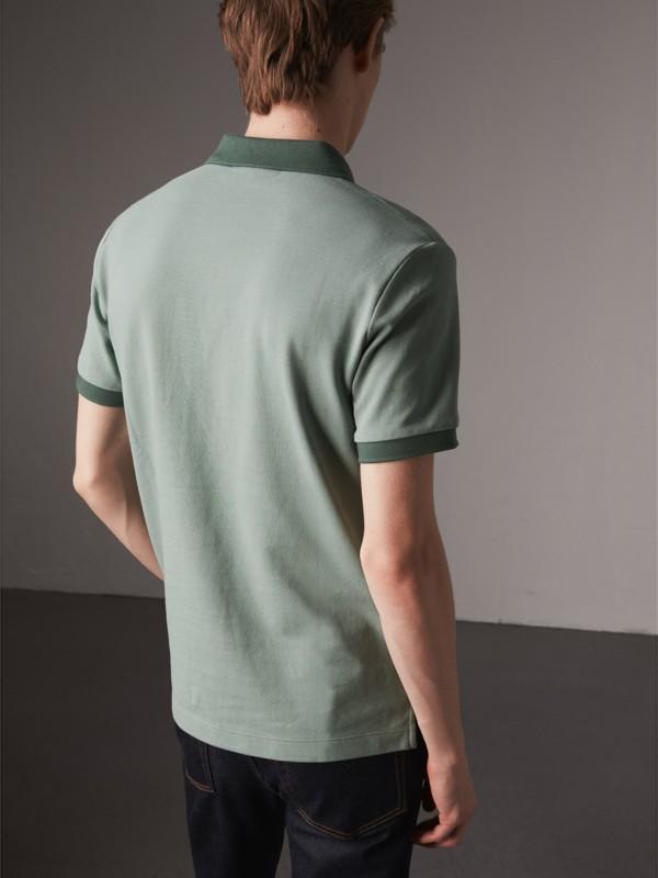 Cotton Piqué Polo Shirt in Eucalyptus Green - Men | Burberry - cell image 2