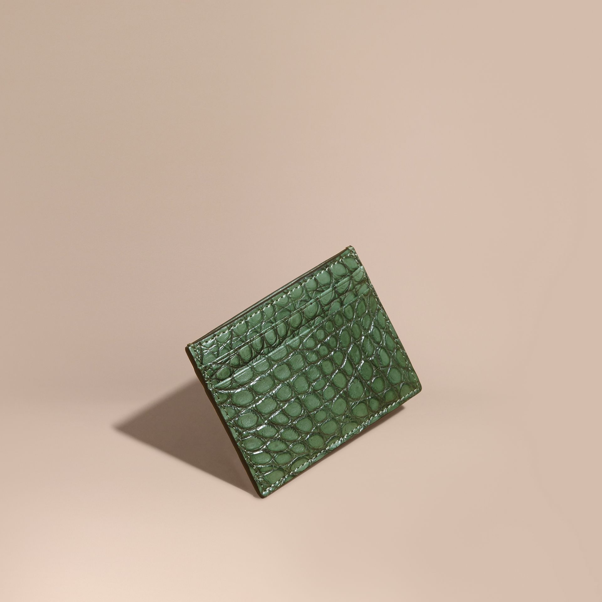 Sage Alligator Leather Card Case - gallery image 1