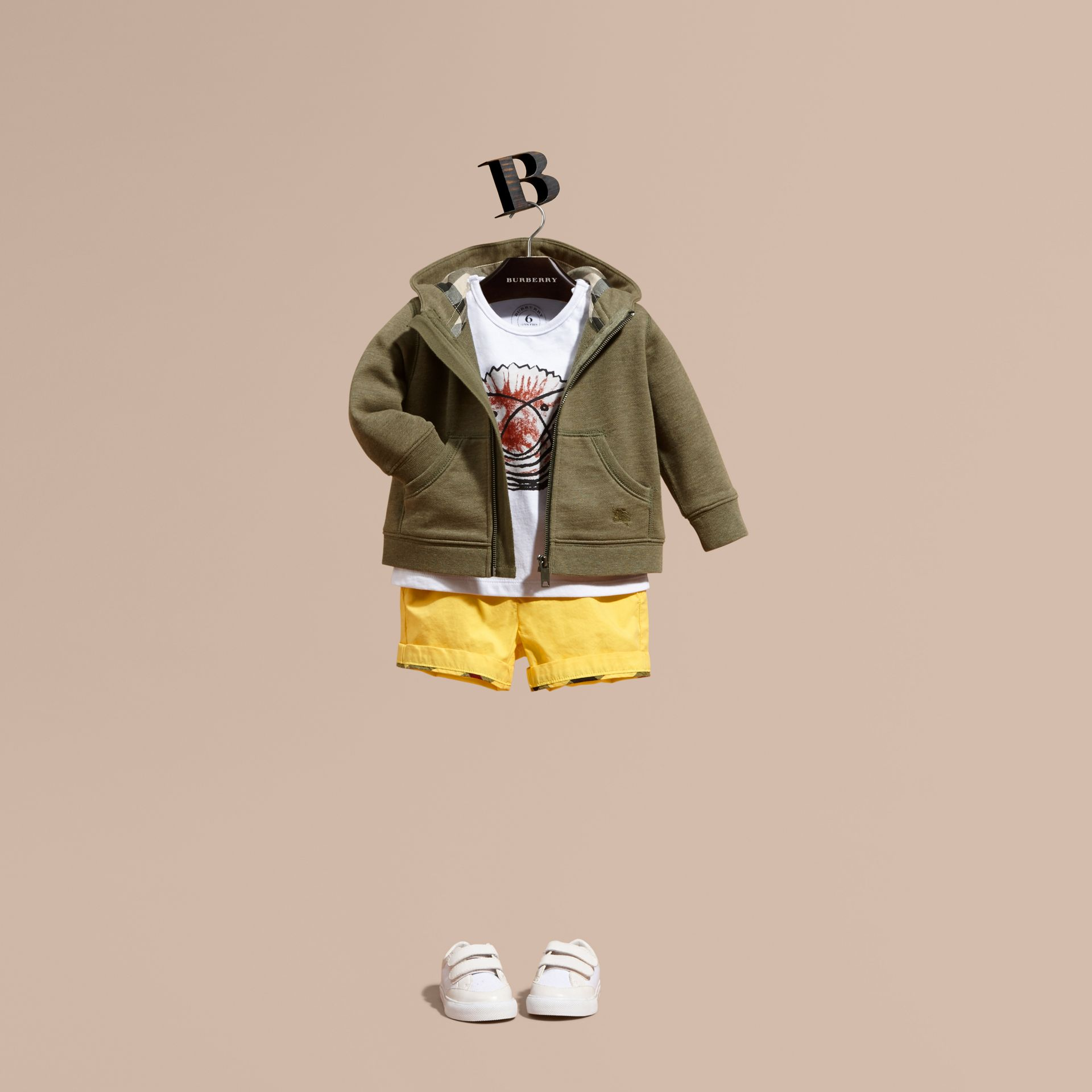Check Detail Hooded Cotton Top in Khaki Green Melange | Burberry - gallery image 1
