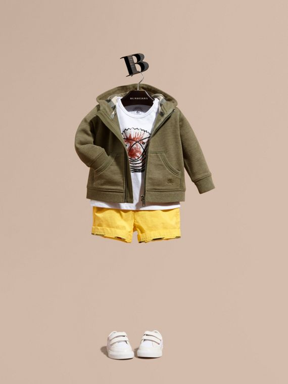 Check Detail Hooded Cotton Top in Khaki Green Melange | Burberry