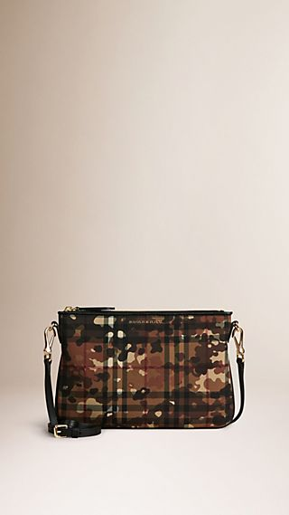 Camouflage Print Horseferry Check Clutch Bag
