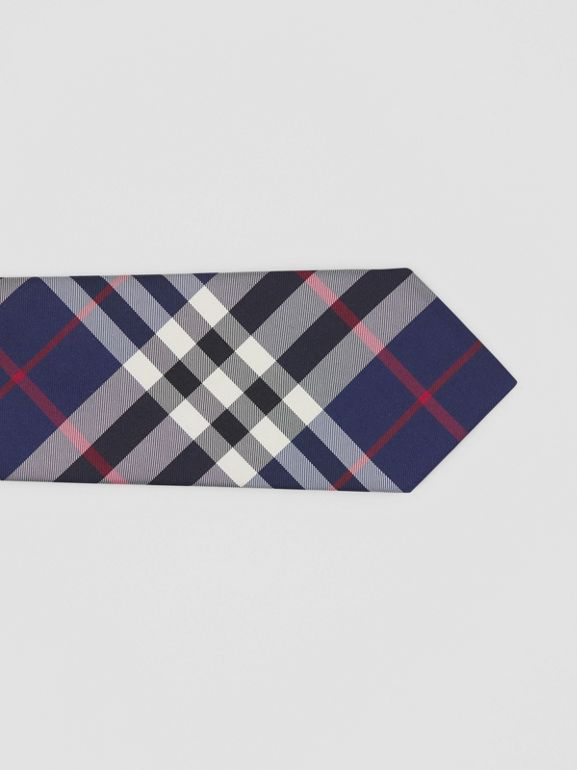 Classic Cut Check Silk Tie in Navy - Men | Burberry - cell image 1
