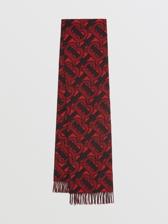 Monogram Cashmere Jacquard Scarf in Crimson