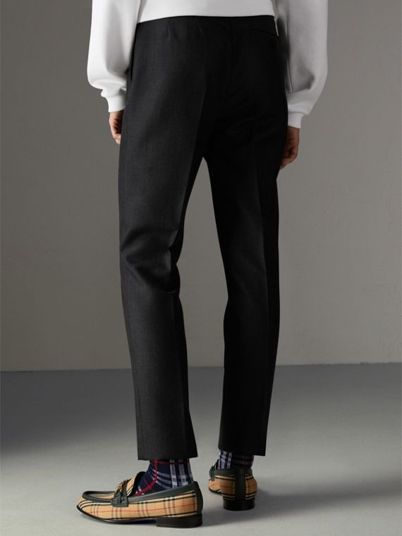 Wool Mohair Cropped Tailored Trousers in Charcoal | Burberry United States - cell image 2