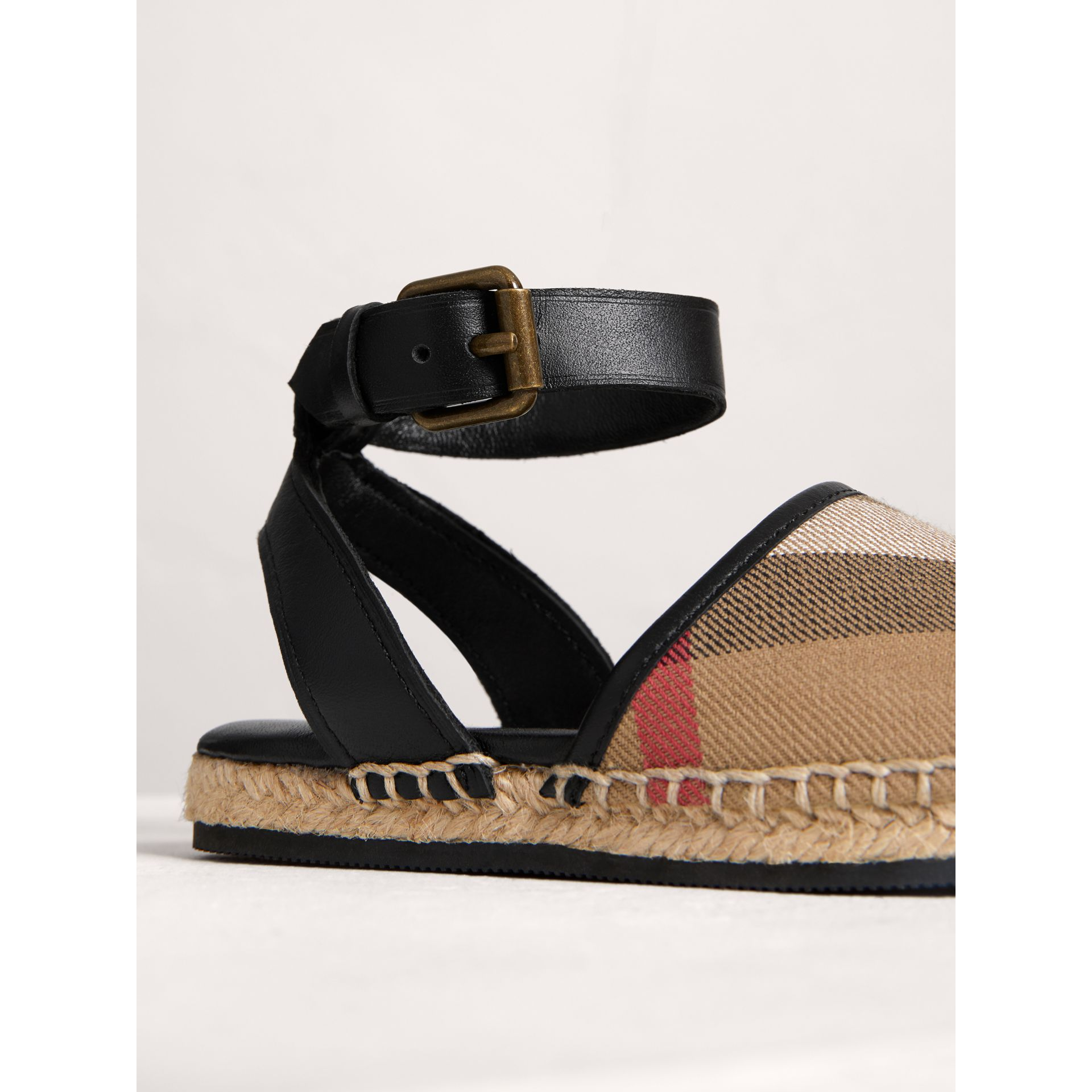 House Check and Leather Espadrille Sandals in Black - Children | Burberry United States - gallery image 1