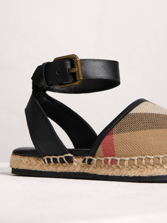 House Check and Leather Espadrille Sandals in Black - Children | Burberry United States - cell image 1