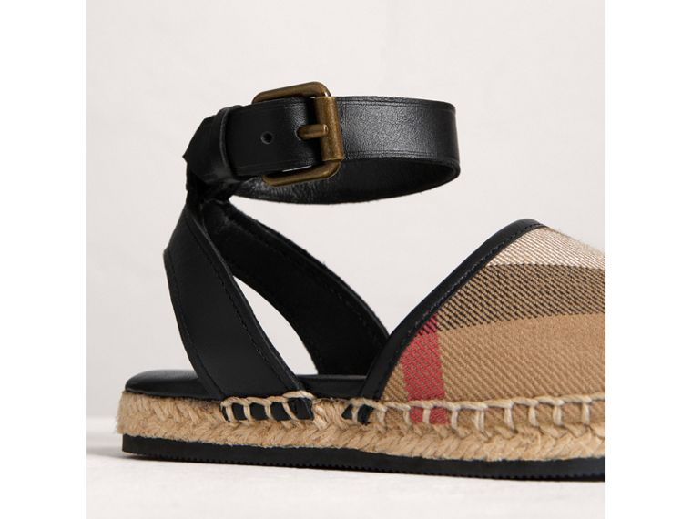 House Check and Leather Espadrille Sandals in Black | Burberry - cell image 1